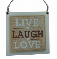 'LIVE LIFE LOVE' WOODEN SHABBY CHIC PLAQUE HANGING SIGN